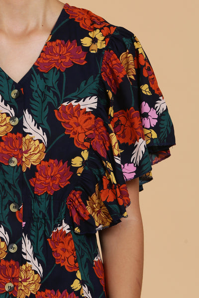 Blossom Floral Printed Cotton Top - sewandyou.com