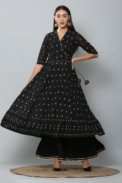 Black and Gold Chikankari Kurta Set