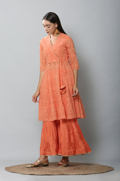 Tangerine Chikankari Kurta and Flared Palazzo Set