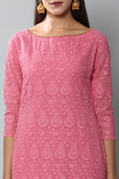 Blush Pink Chikankari Kurta Set with Garara and Dupatta