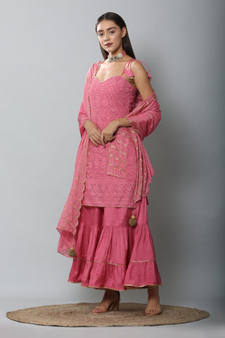 Blush Halter Chikankari Kurta Set with Garara and Dupatta