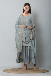 Smokey Grey Embroidered Kurta and Garara Set with Dupatta