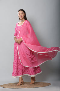Fuschia Chain Stitch Embroidered Gown and Dupatta Set