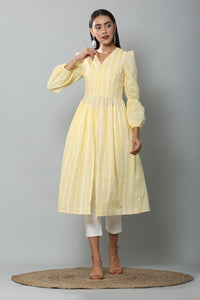Lemon Embroidered Kurta