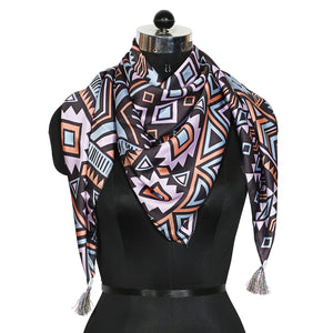 Abstract Print Polysatin Scarf