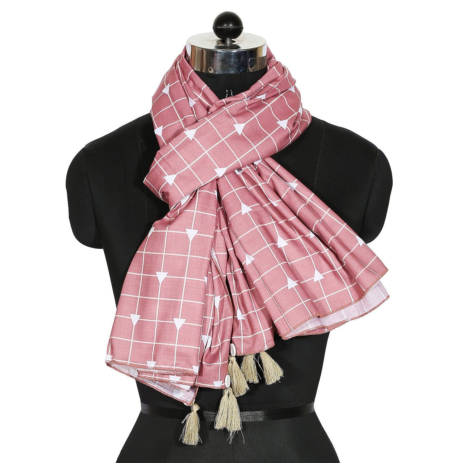 Carnation Pink Printed Stole