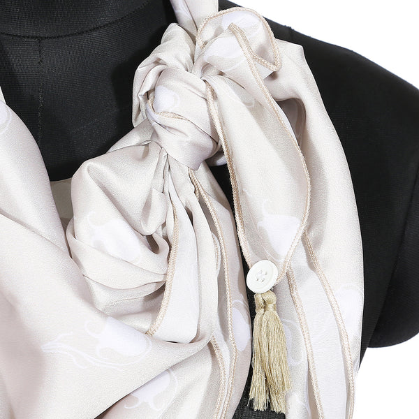 Classic Beige and White Print Scarf