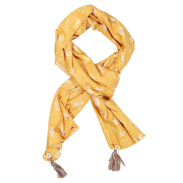 Cherry Blossom Yellow Print Stole