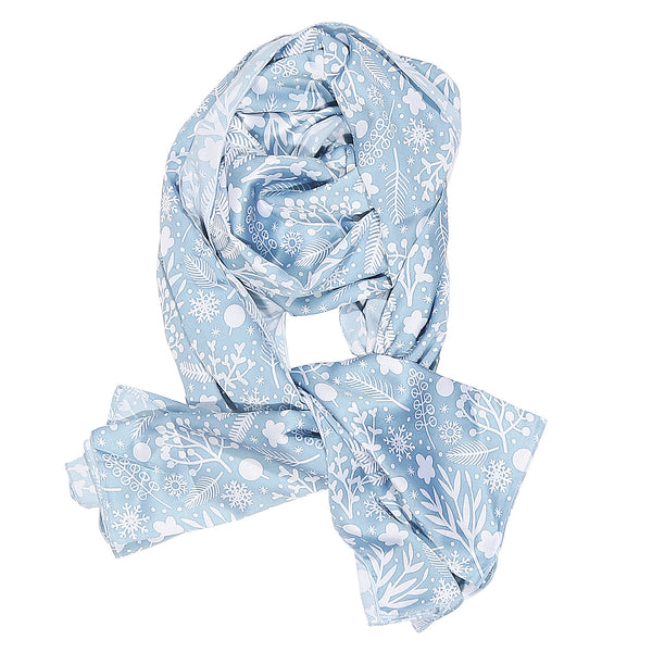 Blue and White Floral Print Stole