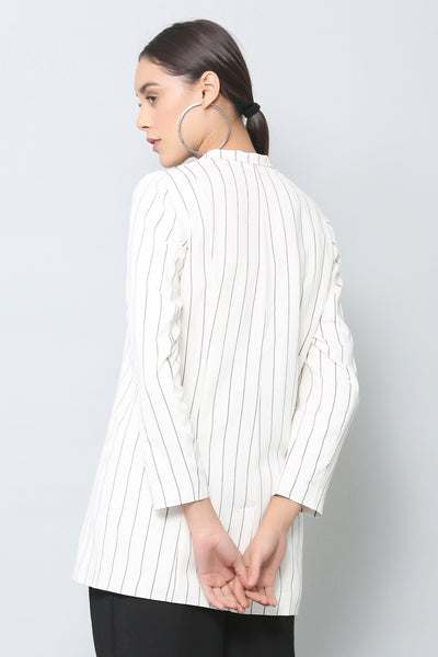 White Striped Longline Blazer