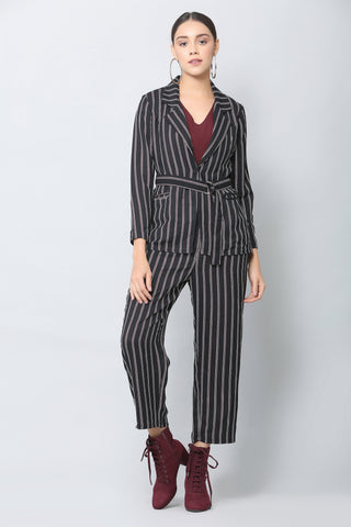 Dark Navy Striped Blazer and Pants Co-ord Set