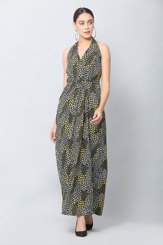 Black Halter Print Maxi Dress