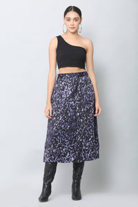 Electric Blue Print Midi Skirt