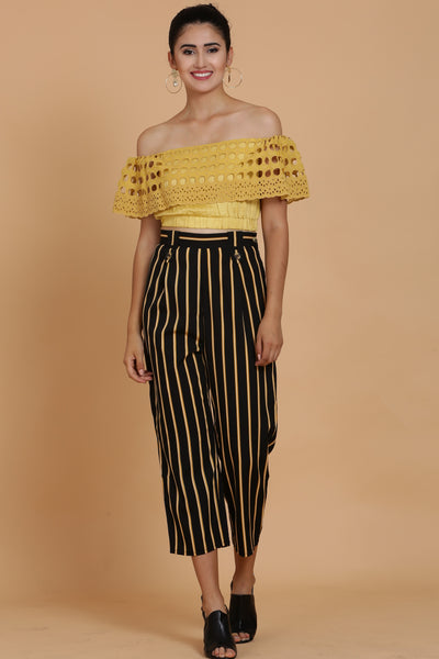 Mustard Crop Top and Black Striped Pants Co-ord Set