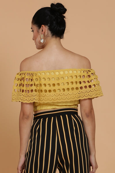 Mustard Embroidered Crop Top
