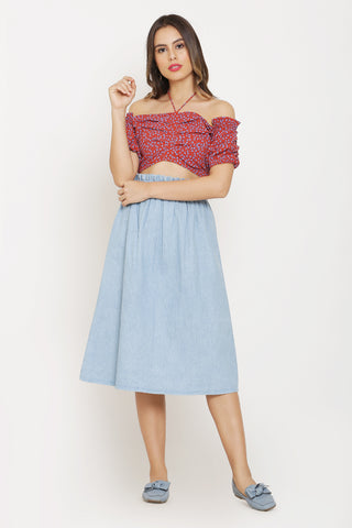 Red Crop Top and Denim Midi Skirt Set
