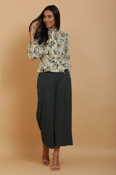 Cream Print Wrap Top and Green Culottes Set