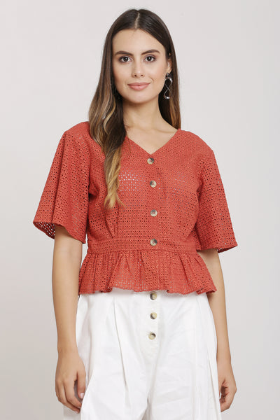 Rust Cotton Crop Top