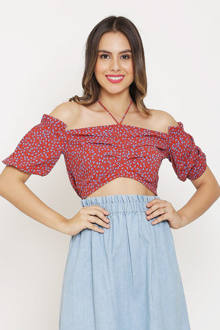 Red Halter Crop Top