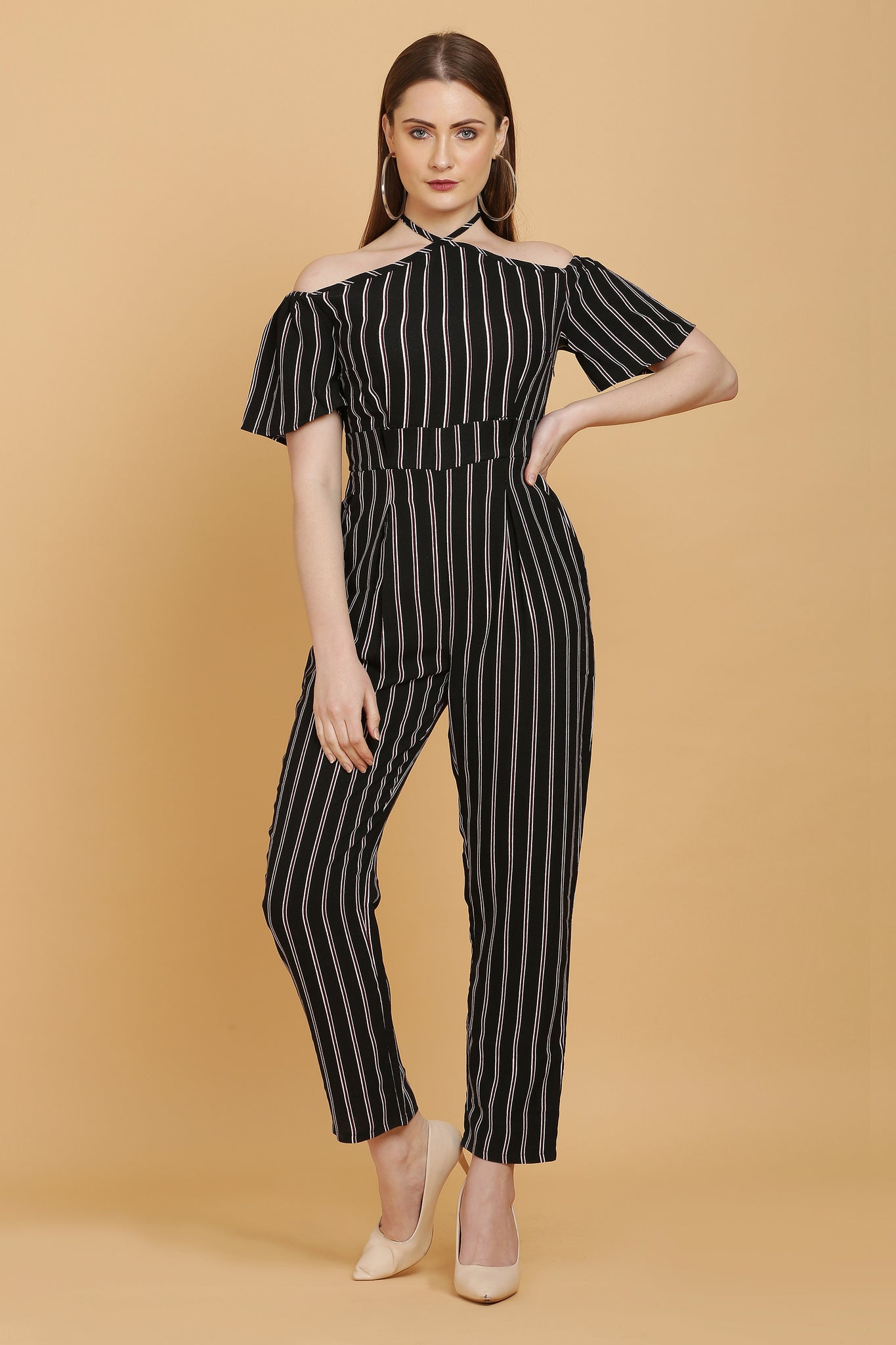 Halter Neck Striped Jumpsuit