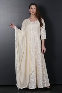 Cream Chain stitch Gown with Dupatta