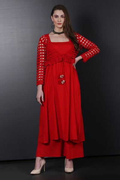 Red Kurta Set with Schiffli Jacket