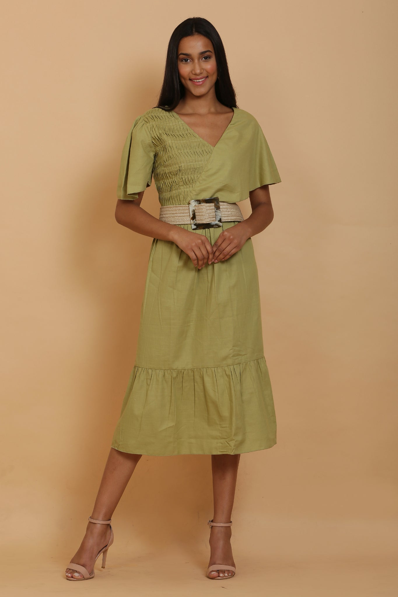 Pear Smocked Midi Dress