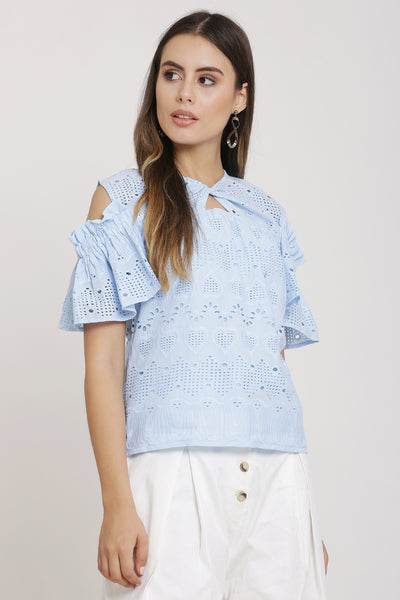 Sky Embroidered Cold Shoulder Top