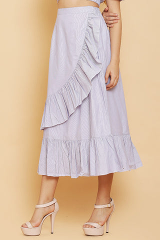 Stripes Ruffle Maxi Skirt