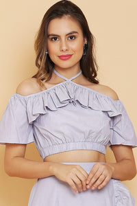 Stripes Ruffle Crop Top
