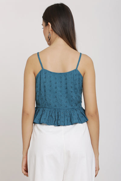 Teal Embroidered Strappy Crop Top