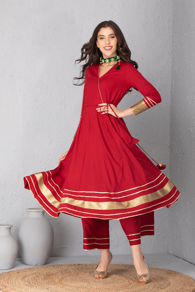 Crimson Angrakha Style Kurta Set with Dupatta