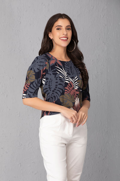 Tropical Print Overlap Crop Top