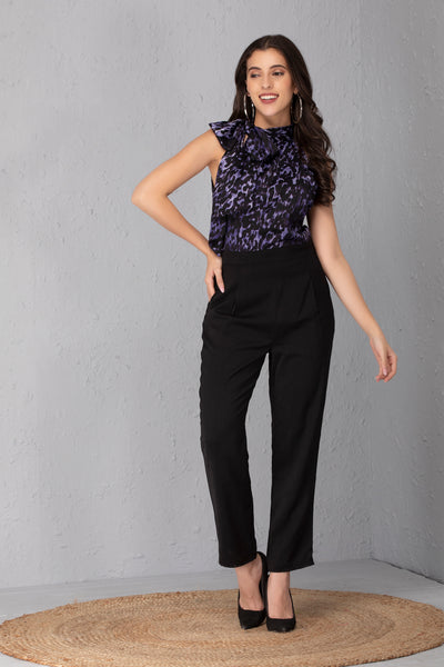 Midnight Blue Bow Neck Jumpsuit