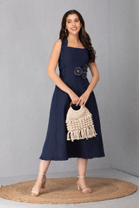 Denim Polka Midi Dress
