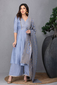 Dusky Blue Kurta Set with Dupatta