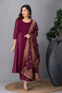 Wild Berry Embroidered Kurta Set with Dupatta