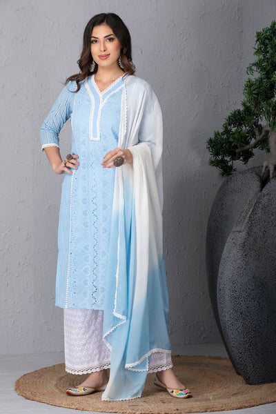 Blue Dawn Kurta Set With Dupatta