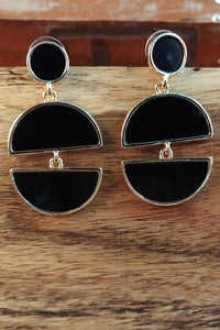 Black Dangler And Drop Earrings