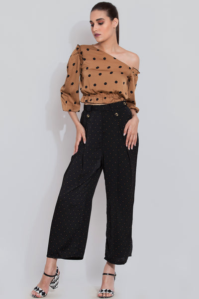 Polka Dot Print Top For Women in Cinnamon Brown Color