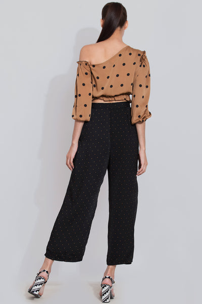 Polka crop top and black polka pant co-ord set
