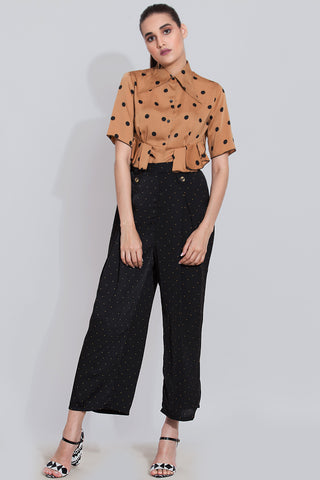 Cinnamon Blouse and Black pants co-ord set