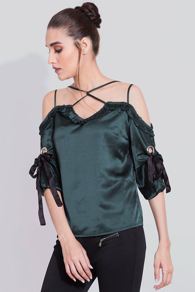 Turtle Green Eyelet Detailing Top For Women -sewandyou.com