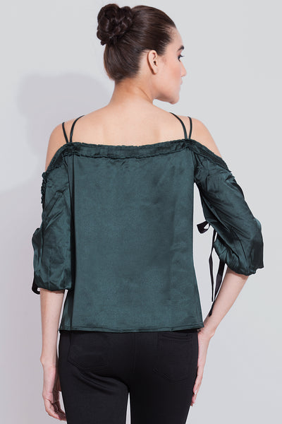 Turtle Green Eyelet Detailing Top