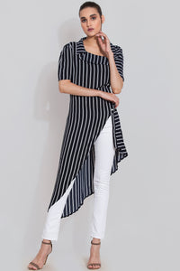 Navy stripes maxi top