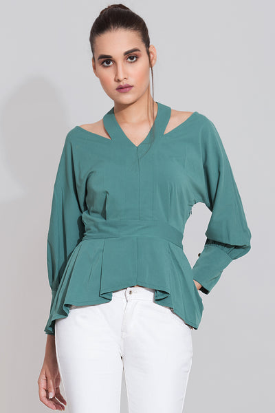 Kimono Top For Women- Fern Green Color-Sewandyou