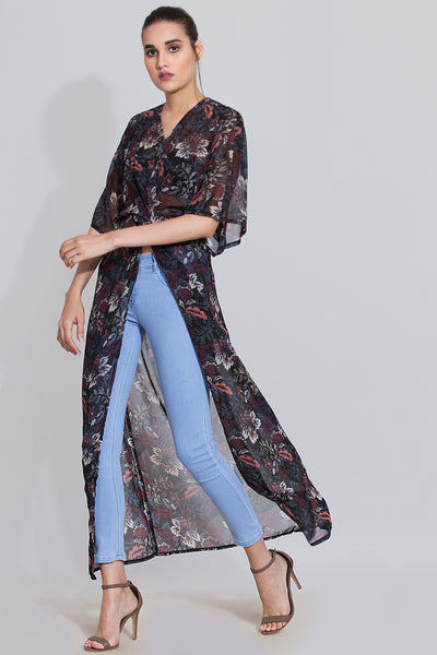Black printed maxi top