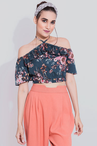 Teal Floral Halter Neck Crop Top - Sewandyou.com