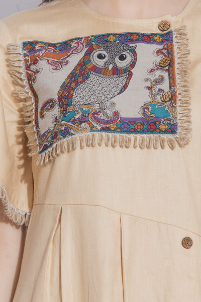 Beige Owl Print Dress