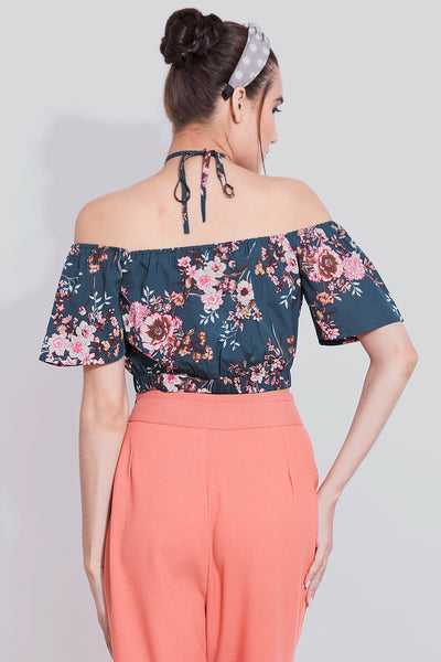 Teal Floral Halter Neck Crop Top